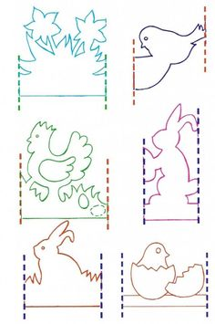 it wp-content uploads 2014 03 Kirigami, Easter Crafts, Christmas Crafts, Diy For Kids, Crafts For Kids, Paper Cutting Patterns, Paper Chains, Paper Snowflakes, Easter Printables
