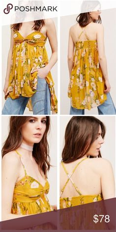 Nwt free people high low floral top Free people mirage top. Features removable straps, ruched bust, and a silhouette flowy hem. Size small. 100% polyester. Machine washable Free People Tops Tank Tops