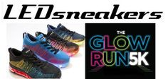 LEDSneakers are the official shoe of The Glow Run 5k! Made for youth and adults, these sneakers light up in 7 alternating colors. These are designed for nighttime visibility - the best way to #GlowRunParty! #LEDSneakers #running shoes #fitness
