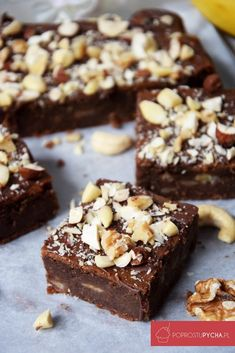 fit brownie with bananas - Fit Sweets Cake, Cookie Desserts, Sweet Desserts, Chocolate Desserts, Sweet Recipes, Cake Recipes, Dessert Recipes, Vegan Sweets, Healthy Sweets