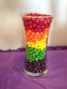 Skittles table decoration. and the best part would be eating them!!