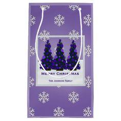 Personalized Purple Christmas Tree Gift Bag Small Gift Bag