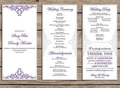 Wedding Program Made to order 3 pages Many color by Lucky13byKC