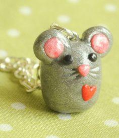 Miniature Kawaii Mouse Polymer Clay Animal Charm Necklace