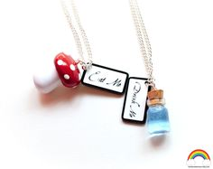 Alice in wonderland necklace Alice In Wonderland Costume, Unique Jewelry, Jewelry Ideas, Friendship, Crafty, Personalized Items, Handmade Gifts, Inspired, Etsy