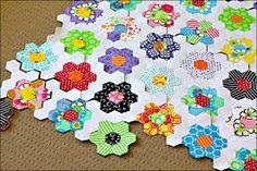 Image result for flower hexagon quilt
