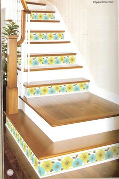 Decorating stairs is easier than ever with peel and stick borders from http://lelandswallpaper.com