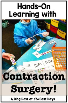 Why Contraction Surgery Succeeds! Teaching Grammar, Grammar Lessons, Grammar Games, Teaching Reading, Real Teacher, Teacher Blogs, Teacher Stuff, 1st Grade Activities, Spelling Activities