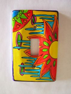 COLOR WOW hand painted single light switch cover