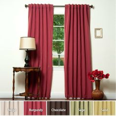"Energy Saving Beautiful DUPIONI Insulated Blackout 84""L Set - Burgundy - BT - Closeout by Best Home Fashion. $34.99. Sold in pairs. Panel measures 52W x 84L, Set measures 104W x 84L. Hotel-quality drapes block out sunlight. Eco-Friendly, Save Energy, Lower Utility Bill, Keep Cool in Summer and Keep Warm in Winter. Glamorize your windows with these beautiful dupioni blackout draperies. Darken any room at any time of the day. Dupioni silk like Luxury and function in one, Cascad..."