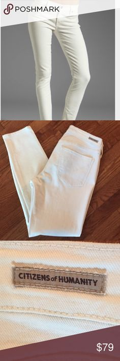 Citizens of Humanity Jeans C of H Thompson medium rise crop skinny jeans. Worn ONCE! These are so cool because they are an off white and not the typical BRIGHT white denim. More elegant and chic! Citizens of Humanity Jeans Ankle & Cropped