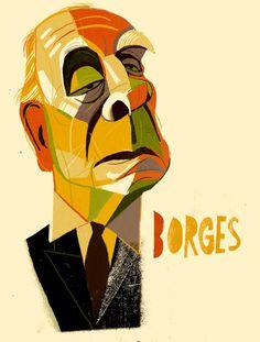 Jorge Luis Borges /writer /illustration by Francisco Javier Olea Illustration, Deadpool, Literature, Joker, Superhero, Movie Posters, Fictional Characters, Caricatures, Writers