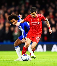 Philippe Coutinho and Willian during Chelsea - Liverpool.