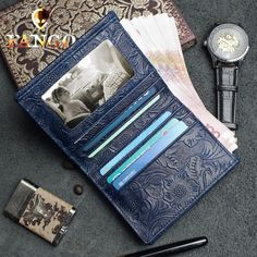 7798f38b683e Handmade Leather Floral Mens Cool Slim Leather Wallet Men Short Wallet –  iChainWallets Slim Leather Wallet