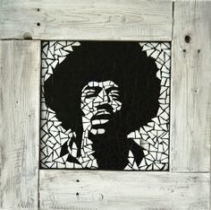 Jimi Hendrix in shabby chic frame 60×60 cm