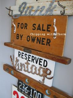 Chipping with Charm:  Crazy Signs and Hooks Wall...http://www.chippingwithcharm.blogspot.com/ #junkerunited