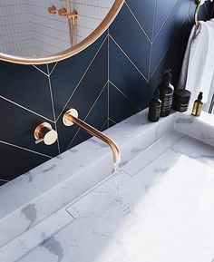 Bathroom decor for your bathroom remodel. Discover master bathroom organization, bathroom decor a few ideas, master bathroom tile ideas, master bathroom paint colors, and more. Bathroom Inspo, Bathroom Inspiration, Bathroom Ideas, Bathroom Designs, Navy Bathroom Decor, Bath Ideas, Bad Inspiration, Mirror Inspiration, Mirror Ideas
