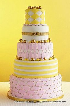 Pink and yellow springtime wedding! #desserts #cakes #wedding #weddingcake #pink #yellow #SweetSisters