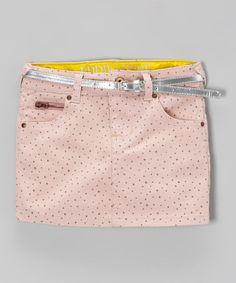 Another great find on #zulily! Pink & Silver Polka Dot Belted Denim Skirt - Toddler & Girls #zulilyfinds