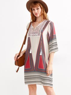 Shop Geometric Print Lace Up Fringe Shift Dress online. SheIn offers Geometric Print Lace Up Fringe Shift Dress & more to fit your fashionable needs.