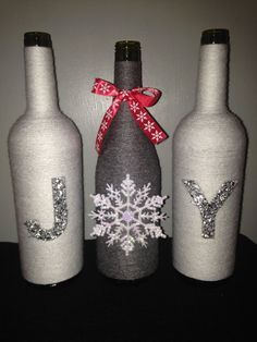 Hand Wrapped Wine Bottle Set by WineWords on Etsy - Crafts Wrapped Wine Bottles, Wine Bottle Corks, Glass Bottle Crafts, Bottle Bottle, Glass Bottles, Cork Crafts, Holiday Crafts, Diy Crafts, Shell Crafts