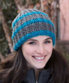 In a Flash Knit Beanie Free Knitting Pattern in Red Heart Yarns