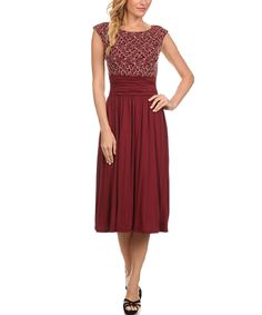 e03026b88b3 Look what I found on  zulily! Burgundy Abstract Ruched-Waist Midi Dress