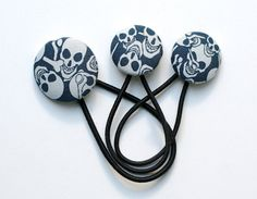 Skull Hair Tie Set   Blue in Navy and Pale  Covered by DustyJo, $11.00