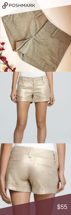Alice + Olivia Shimmer Shorts - Alice + Olivia  - Size 0 - Shimmer Cuffed Shorts  - Same style as stock picture but has a silver shimmer (not gold).  - Excellent Condition Alice + Olivia Shorts