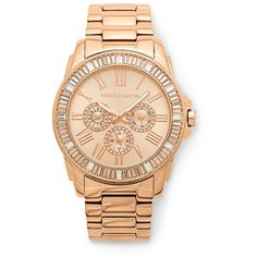 Vince Camuto Baguette Crystal Rosegold Dress Watch ($250) ❤ liked on Polyvore featuring jewelry, watches, no color stainless steel, roman numeral watches, dress watch, pave bracelet, rose gold watches and crystal watches