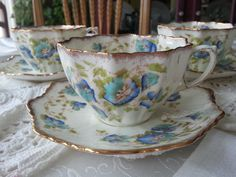 Stunning Set of 3 Antique Star Paragon Hand Painted Bone China Tea Cups and Saucers, 1920's