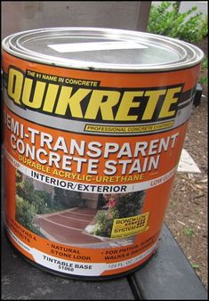 """Concrete stain, don't forget sealer, prep with muriatic acid, add """"grout"""" by taping before staining!"""