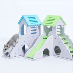 Rectangular Chalet Toy Hamster Small Animal Wooden Toy House fixed Nest
