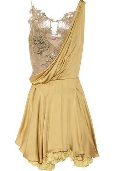 silk-satin and lace dress