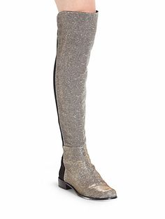 Stuart Weitzman 5050 Stretchy Glitter Lamé Over-The-Knee Boots