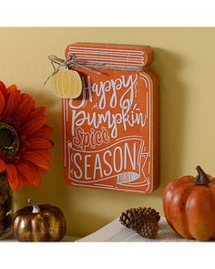 Ring in the season with the great taste of a Happy Pumpkin Spice Season Mason Jar Wooden Plaque! This mason jar plaque gets you ready for flavorful fall days! Halloween Mason Jars, Fall Mason Jars, Mason Jar Crafts, Mason Jar Diy, Happy Pumpkin, Pumpkin Spice, Fall Crafts, Halloween Crafts, Mason Jar Hanger