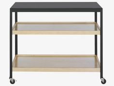 RIZZO Black metal and plywood low storage unit
