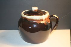 Vintage 70's Brown Glaze Crock with Handle and by Castawayacres