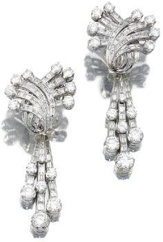 DIAMOND PENDENT EARRINGS    Set with brilliant-cut and baguette diamonds, post fittings, pendants detachable.