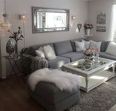 46 Magnificent Apartment Living Room Decorating Ideas On A Budget - Diy Wohnzimmer Living Room Grey, Apartment Living, Rugs In Living Room, Living Room Designs, Living Room Themes, Living Room Ideas Grey And White, Living Room With Mirror, Living Room Ideas With Grey Couch, Living Room Ideas On A Budget