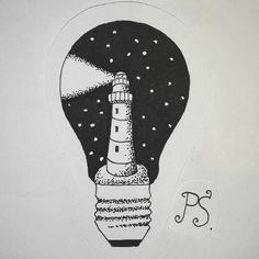 #тату #татуировка  #татуэскиз #эскиз #домашняятатуировка #дотворк #графика #чернота #чб #ночь  #маяк #лампочка  #tattoo #tattoosketch  #hometattoo #sketch #dotwork #graphic #bw #black  #night #lighthouse #bulb