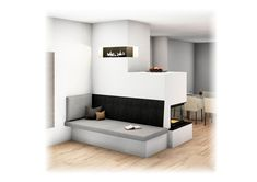 Moderner Kachelofen  #kachelofen #moderner Modern Architecture House, Interior Architecture, Home Design Plans, Home Interior Design, Rustic Loft, Contemporary Home Decor, Contemporary Houses, Small House Plans, Home Bedroom