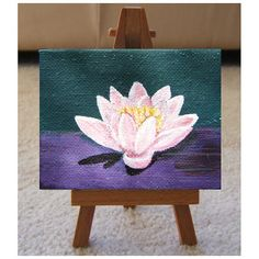 Waterlily. Orignal painting. Mini canvas by bitsanbobsanbags