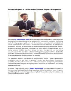 Real estate agents in london and its effective property management