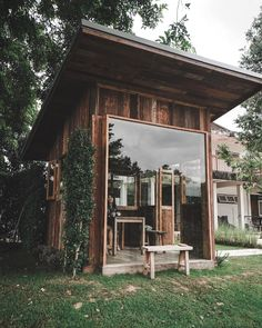 a wooden house / Small Coffee Shop, Coffee Shop Design, Cafe Design, House Design, Wooden Cabins, Wooden House, Tiny House Cabin, My House, Bamboo House