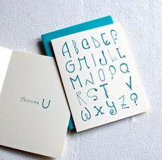 Missing U Card,  I Miss You Card, Typographic card Handmade Greeting Card, thinking of you card, sea blue