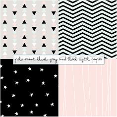 Just Peachy Designs: free pale mint, blush, gray and black digital paper