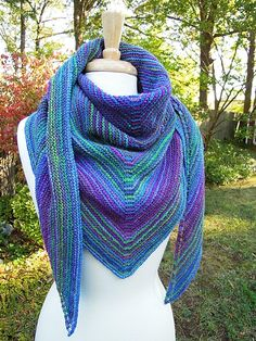 Easy Garter Stitch Shawl Recipe - Free pattern. This is the greatest site for knitters - get answers to anything knit/crochet, and patterns, etc. Check it out!