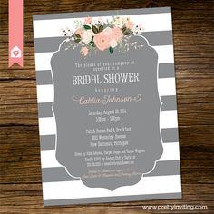 Bridal Shower Invitation Elegant grey and by PrettyInvitingPrints