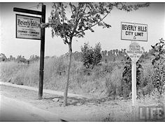"""A 1920 image later published in LIFE Magazine showing rural-looking Beverly Hills with signs at its city limits reminding motorists that """"Bridal path crossing–Saddle horses have right of way"""". Vintage California, Southern California, California History, Old Hollywood, Classic Hollywood, Hollywood Glamour, City Of Angels, City Limits, Los Angeles County"""